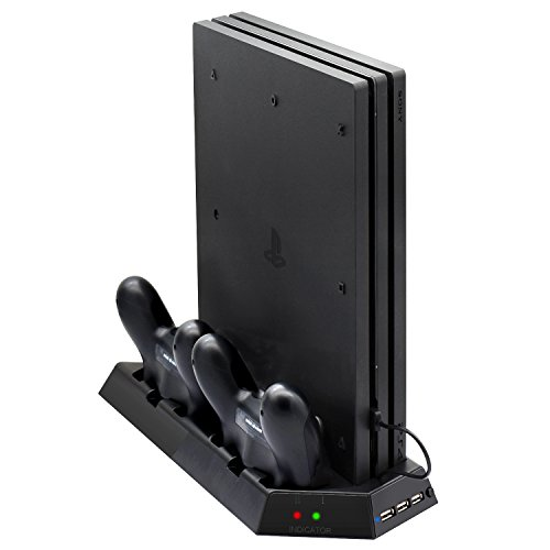 Stand Fan Dock Cooler (Vertical Stand for PS4 Pro with Cooling Fan, FastSnail Controller Charging Station for Playstation 4 Pro, Charger for DualShock 4 Controllers with LED Charging Indicator)
