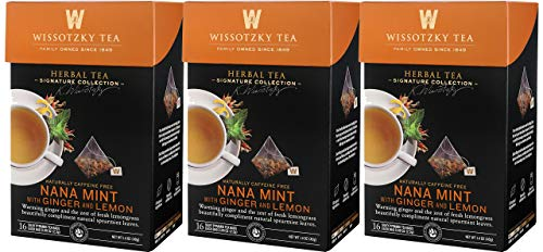 Wissotzky Tea, Signature Collection, Nana Mint with Ginger & Lemon, 16 Count (Pack of 3)