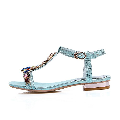 AmoonyFashion Womens Sheepskin Solid Buckle Open Toe Low-heels Sandals Blue qKtcKYC8