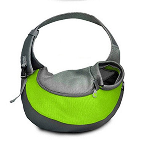 Wooc Portable Soft Pet Carrier Shoulder Sling Bag for Dogs and Cats Travel (Middle, Green)