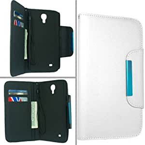 Quaroth - Samsung Galaxy Mega 6.3 I9200 I9205 I527 Pouch Protector Case Cover - White Wallet