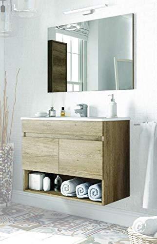 Mobile Bagno da cm 80 Colore Rovere venato con lavandino Specchio arredo  Moderno sospeso