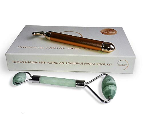 Anti-Aging WONDA Jade Roller for Face Beauty Kit + 24K Gold Face Energy T-Bar – Dark Spot Remover – Skin Care Tool Set – Face Massage Roller – Beauty Tools for Healthy Skin