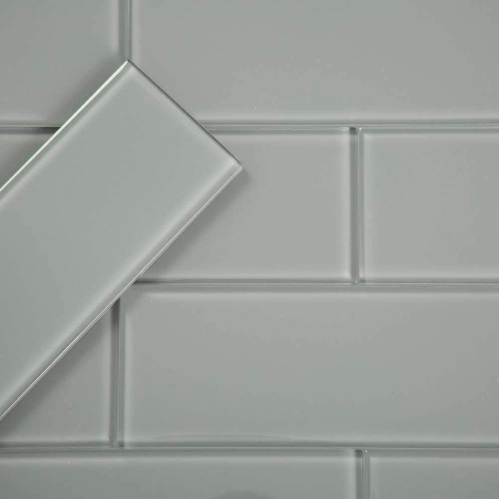 - Diflart 4x12 Inch Grey Glass Subway Tiles Backsplash For Kitchen