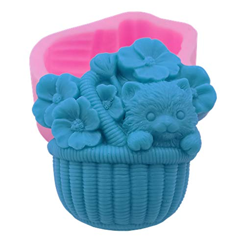 Great Mold Delicate Cat Flower Soap Molds Cute Basket Soap Mold ArtCrafts Resin Mold Chocolate Molds Candle Molds (Flower Basket Mold)
