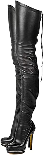 Tasmoyya Women's PU Over Knee High Boots Rond Toe Thigh High Bootie Lace Up Motorcycle Boots with Zip