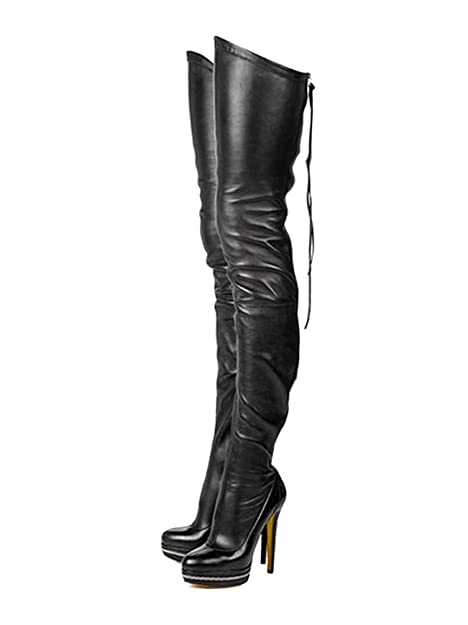 768535341 Tasmoyya Women's PU Over Knee High Boots Rond Toe Thigh High Bootie Lace Up Motorcycle  Boots with Zip: Amazon.ca: Shoes & Handbags