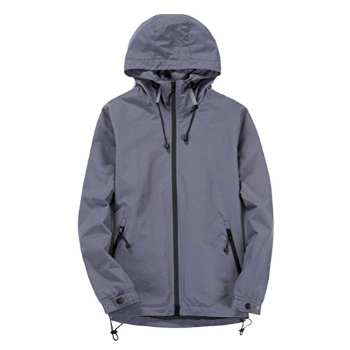 Hoodie Jacket L calidad Sleeve Windbreaker Running Soft Zhhlaixing Long gris Coat 5XL Windproof Outwear Men's buena Size Pq6n5w0