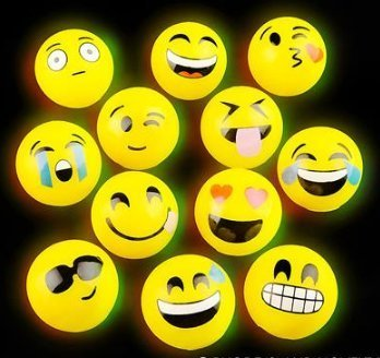 Light-Up Emoji HI-Bounce Ball Box of 12