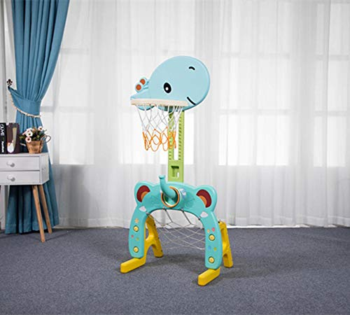 Easy Score Basketball Set Toys - Basketball Hoop Set, 3 in 1 Sports Activity Center Grow-to-Pro Adjustable Easy Score Basketball Hoop, Football / Soccer Goal, Ring Toss Cute Giraffe Best Gift for Baby Infant Toddler (Light Blue)