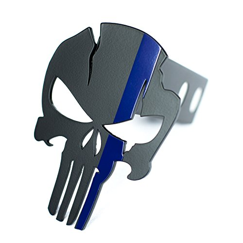(Punisher Warrior Trailer Hitch Cover - Law Enforcement - Thin Blue Line)