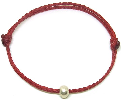BUSABAN Asian Handmade Bracelet 925 Silver Bead Double Red Wax String