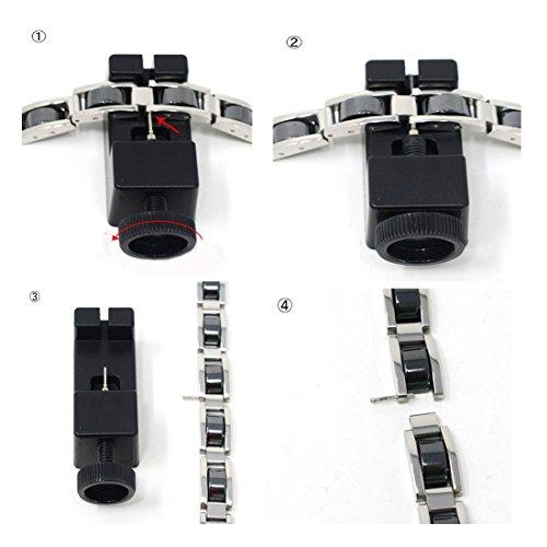 Alivio del dolor de las pulseras de terapia magnética de acero inoxidable de Feraco para la artritis con herramienta de eliminación, negro 8.66 pulgadas