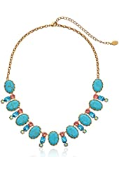 """Sorrelli  """"Caribbean Coral"""" Cabochon Oval and Crystal Classic Necklace, 16.625"""" + 4""""extender"""