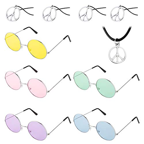 (BKpearl 5 pcs Hippie Glasses, Round Sunglasses Circle Glasses and 5 pcs Peace Sign Necklace)