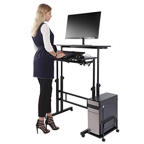Cocoarm Stand Up Computer Desk, Height Adjustable Standing Desk Sit Stand Converter Computer Desktop Workstation, Moveable with Wheels ((Host Shelf Included)) ()