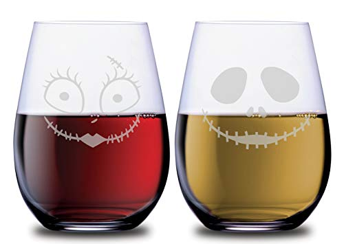 Character Wine Stemless Couples Glasses Jack Glass and Sally Glass Set of 2 Dishwasher Safe, 18 oz, by Smoochies | Couples, Anniversary, Home Date Night, Wife Husband, Her His, Nightmare Fandom