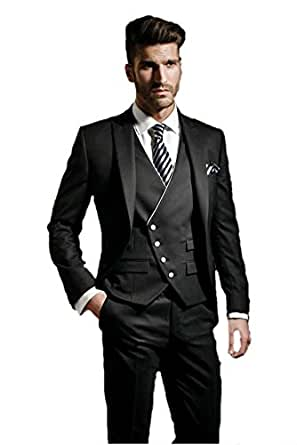 New Style Three-piece Mens' Party Wedding Suit Black (XXL)