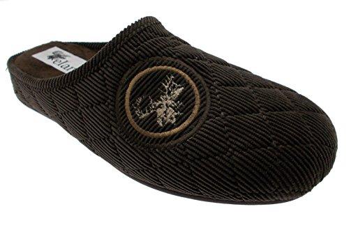 pantoufle brune broderie de velours art orignal 600-2119