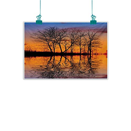 Modern Oil Paintings Nature Landscape from Mother Earth Sunset by The Lake with Fall Trees Forest Life Image Modern Minimalist Atmosphere W35 xL31 Multicolor