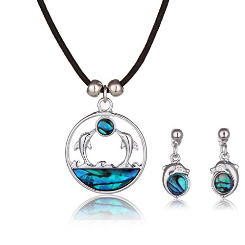 Barch Blue Abalone Paua Dolphin Pendant Mood Necklace Jewelry (Dolphin Set 5#)