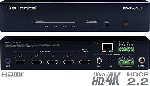 Key Digital KD-Pro4x1 4 Inputs to 1 Output HDMI Switcher, Audio De-embedding of Analog L/R Balanced/Unbalanced & Digital Coaxial Audio, Supports Ultra HD/4K & HDCP2.2
