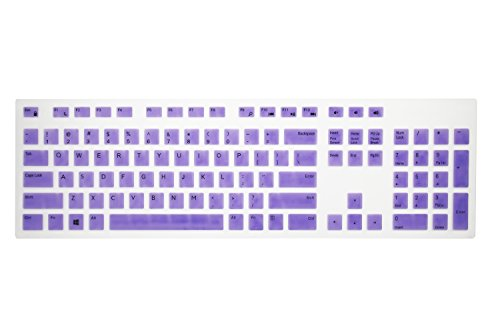 Leze - Ultra Thin Silicone Laptop Keyboard Cover Skin Protector for Dell KM636 KB216 Laptop - Purple (Dell Computer Cover)