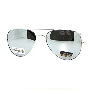 Air Force Polarized Silver Mirror Lens Police Style Cop Pilot Aviator Sunglasses
