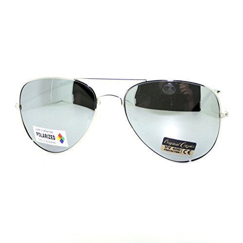 Air Force Polarized Silver Mirror Lens Police Style Cop Pilot Aviator - Police Sunglass