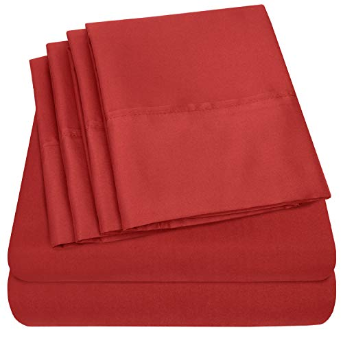 Queen Sheets Red - 6 Piece 1500 Thread Count Fine Brushed Microfiber Deep Pocket Queen Sheet Set Bedding - 2 Extra Pillow Cases, Great Value, Queen, Samba Red