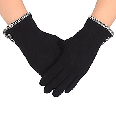 Flammi Women Screen Touch Gloves Warm Lined Fall/Winter Cycling Gloves with Decorative Small Bow, Pair