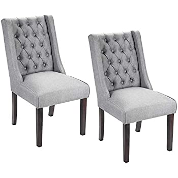 Porthos Home AT010A DGY Button Tufted Dining, Accent or Side Chairs with Solid Rubber Wood Legs, Set of 2 Dark Grey One Size