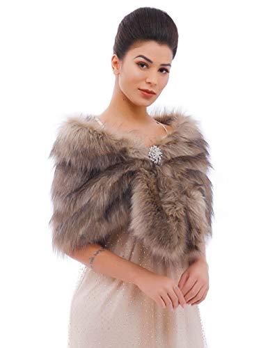 Aukmla Brown Faux Fur Wraps and Shawls Wedding Bridal Faux Fur Stole for Brides and Bridesmaids