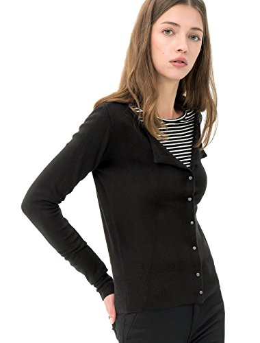 Breeze Womens Sweater- Casual Round Neck Button Front Long Sleeve Soft Knit Cardigan for Women - Black, Large Cashmere Summer Cardigan
