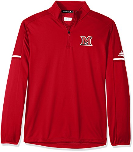 adidas NCAA Miami of Ohio Redhawks Men's Sideline L/S 1/4 Zip Pullover Jacket, Medium, Power Red