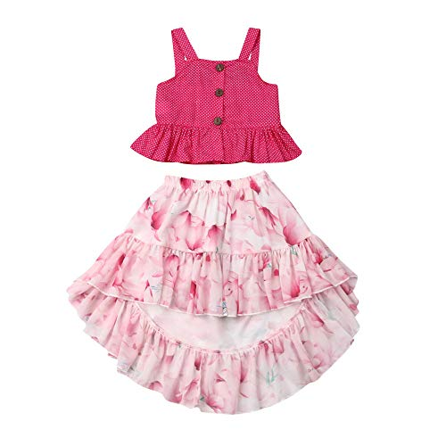 - Toddler Little Baby Girls Ruffle Strap Tank Top+Boho Floral Skirt Dress Outfit Summer Clothes 2 Piece Set (Pink, 5-6T)