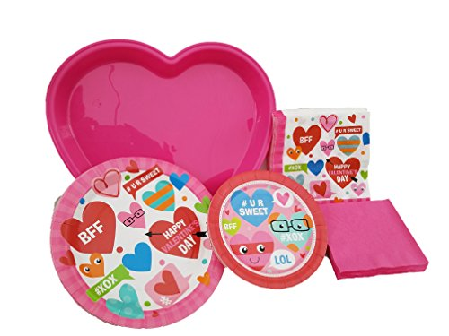 Pink Trendy Valentines Party Dinnerware Set - Bundle Pack Includes Heart-Shaped Plastic Serving Tray, Round Paper Plates & Napkins for 12 Guests