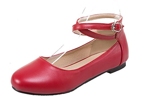 AmoonyFashion No Heel Round Toe Closed Solid Womens Shoes Buckle Pumps Red PU T0qraTnW
