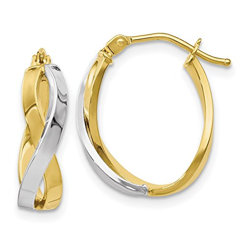 16.25mm 10k Two-tone Polished Twisted Hoop Earrings by JewelryWeb