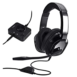 Amazon Basics Premium Gaming Headset for PC and Consoles (Xbox, PS4) with Desktop Mixer – Black