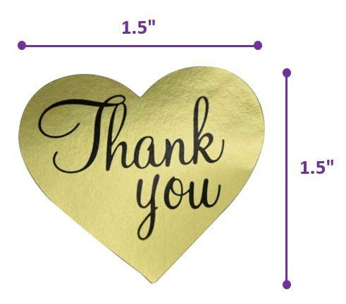 Thank You Stickers Gold Heart Shaped Foil Easy-Pull Adhesive Foil Labels (500 Pack) by Purple Q Crafts (Image #3)