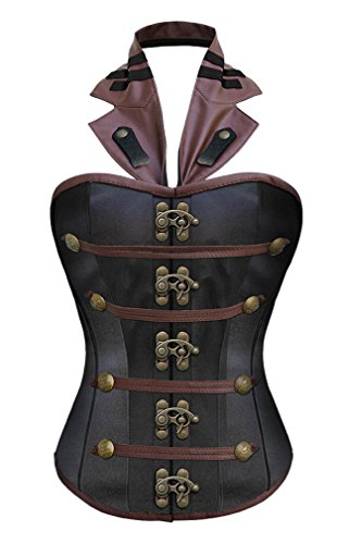 Camellias Women's Halter Steel Boned RIANNA Steampunk Corset,