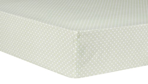 Trend Lab Cotton (Trend Lab Sea Foam Dot Fitted Crib Sheet, Sage)