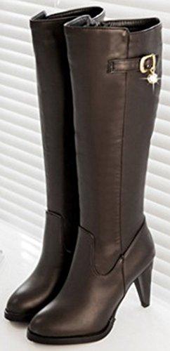 Easemax Women's Stylish Round Toe Side Zipper High Block Heeled Mid Calf Booties Brown i56cLT1x