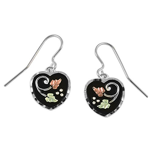 Black Hills Antiqued Heart Earrings with 12k Gold Accents