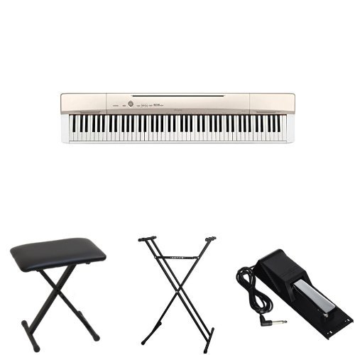 Casio Privia PX160GD 88-Key Full Size Digital Piano Bundle with Casio Bench, Stand, and Sustain Pedal