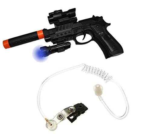 Secret Agent Spy Toy Pistol Silencer Light w/Special Ear Piece Costume Accessory