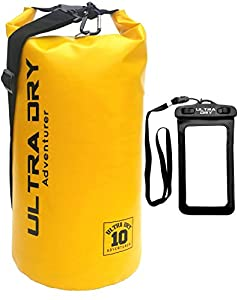 Yellow dry bag with plastic phone case