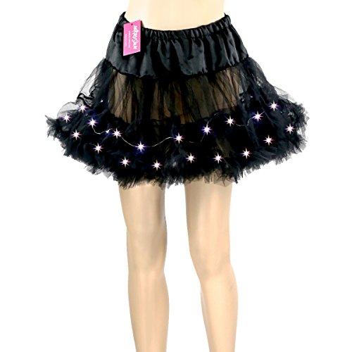 Dark Ballet Costumes (Adult Tutu Led Tutu Neon Rainbow Black Tutu for Women 80s Costume Tutu Skirt)