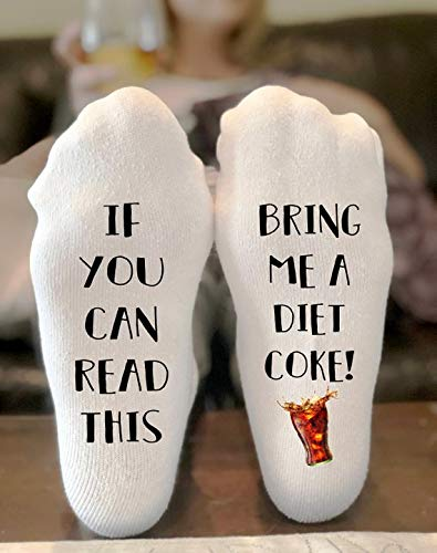 If You Can Read This Bring Me A Diet Coke Socks Novelty Funky Crew Socks Men Women Christmas Gifts Cotton Slipper Socks ()